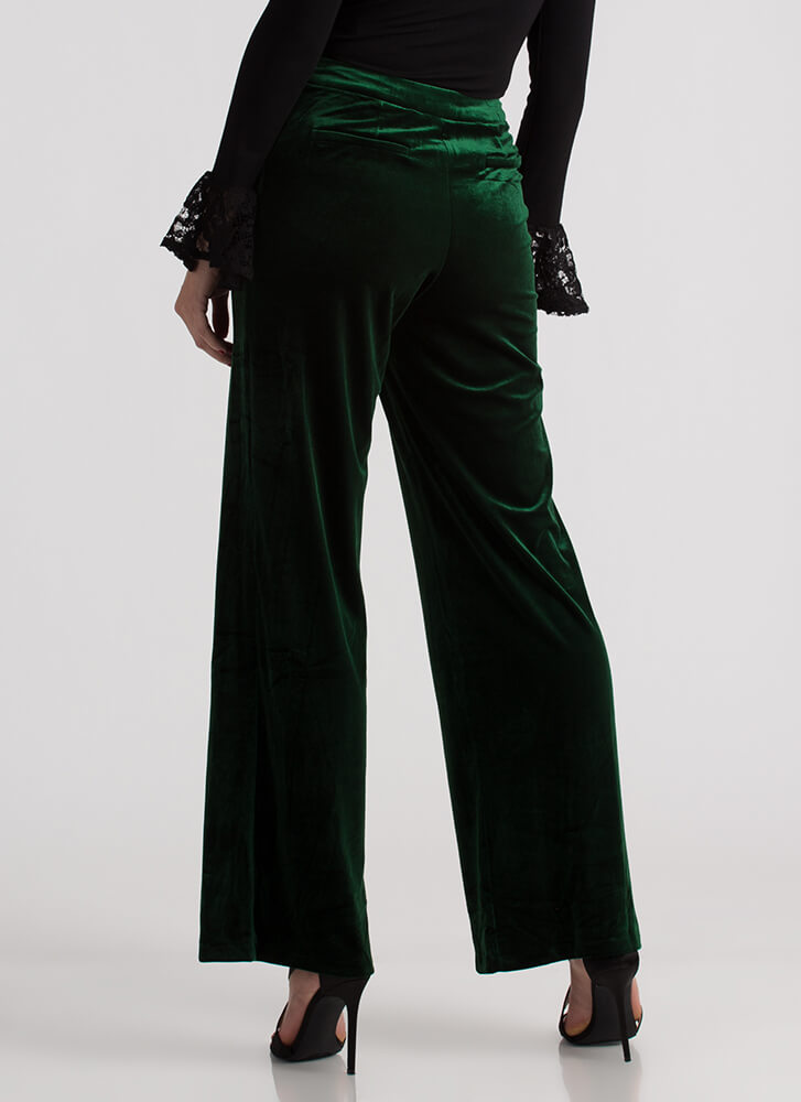 Velvet Holiday Wide High-Waisted Pants DKFOREST (Final Sale)