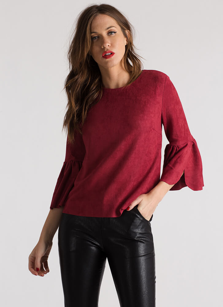 Fine Tune Faux Suede Bell Sleeve Top CRIMSON