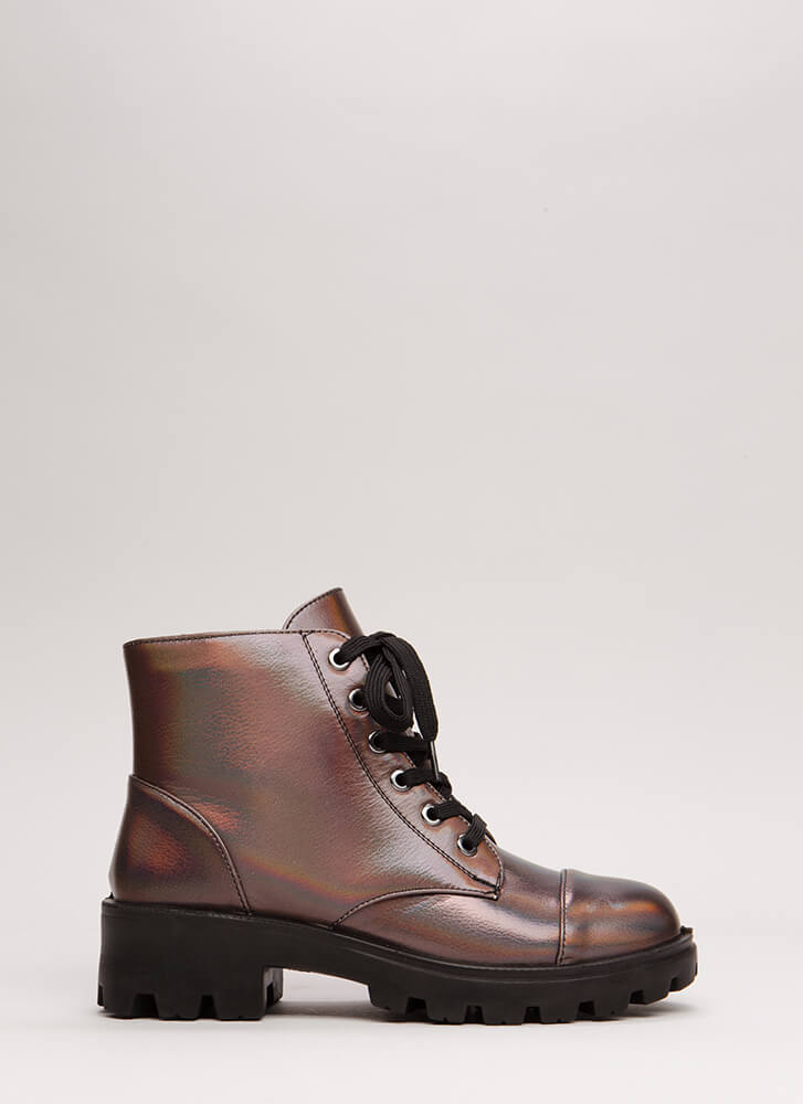 Lug For Life Iridescent Combat Boots PEWTER
