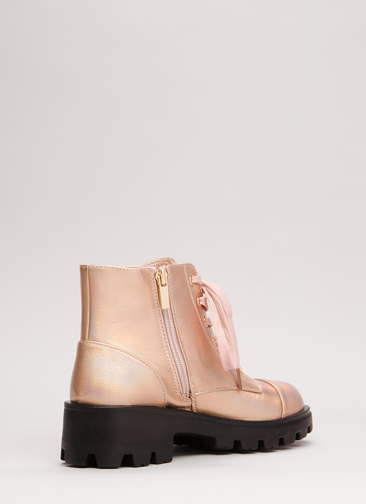 Lug For Life Iridescent Combat Boots ROSEGOLD