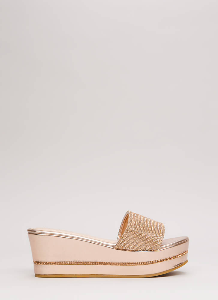 Better Jeweled Metallic Wedge Sandals ROSEGOLD (Final Sale)