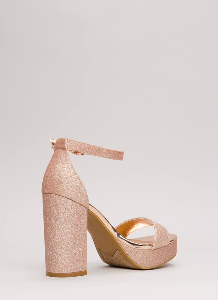 Super Chunky Glittery Platforms ROSEGOLD