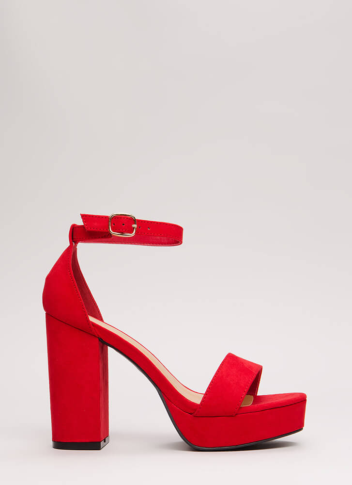 Super Chunky Faux Suede Platforms RED