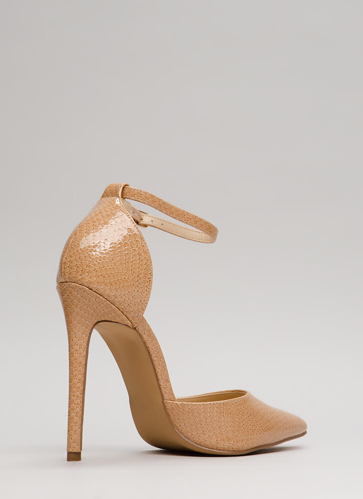 Scaled Back Pointy Faux Patent Heels NUDE