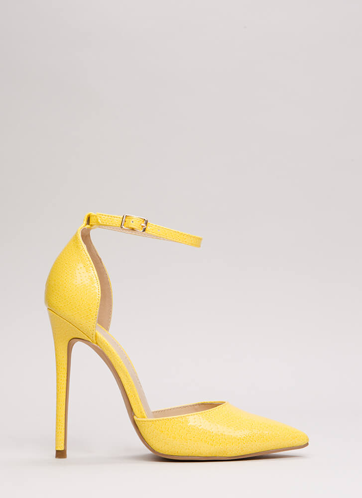 Scaled Back Pointy Faux Patent Heels YELLOW