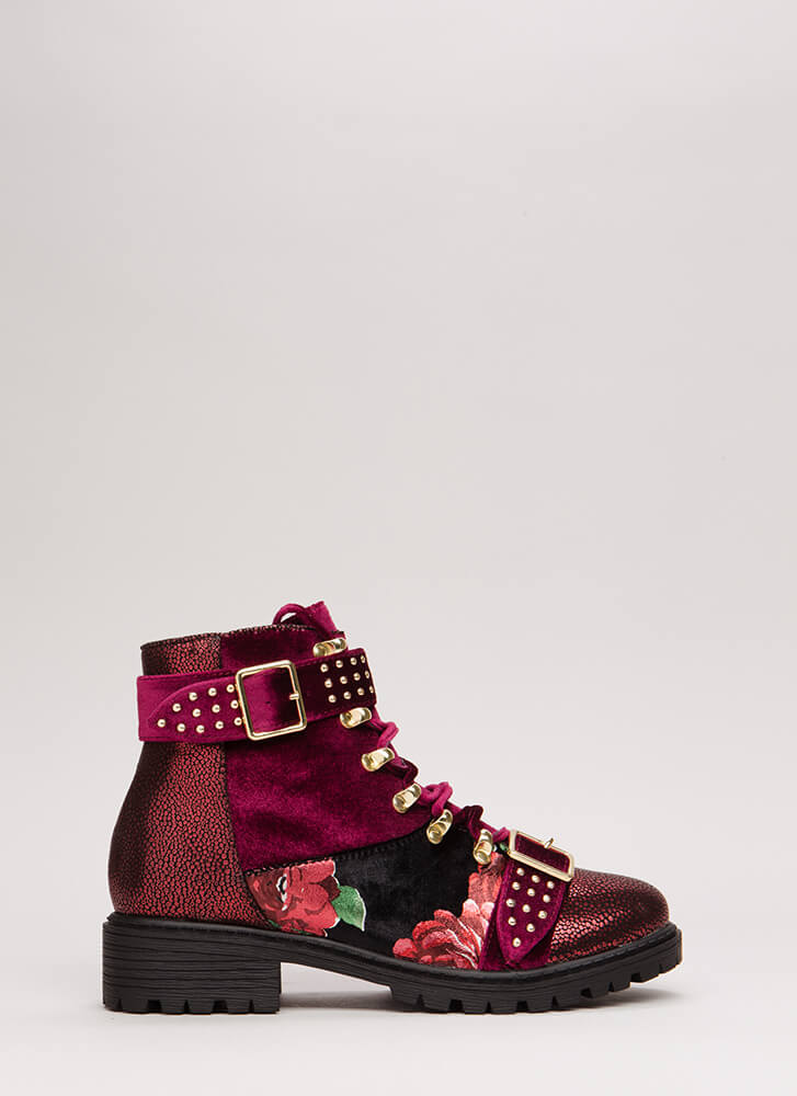 Fight For Fashion Velvet Combat Boots WINE