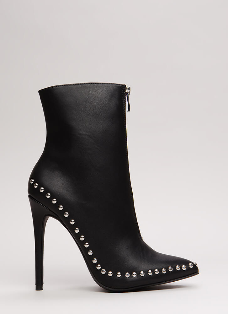 Stunning Studded Pointy Stiletto Booties BLACK
