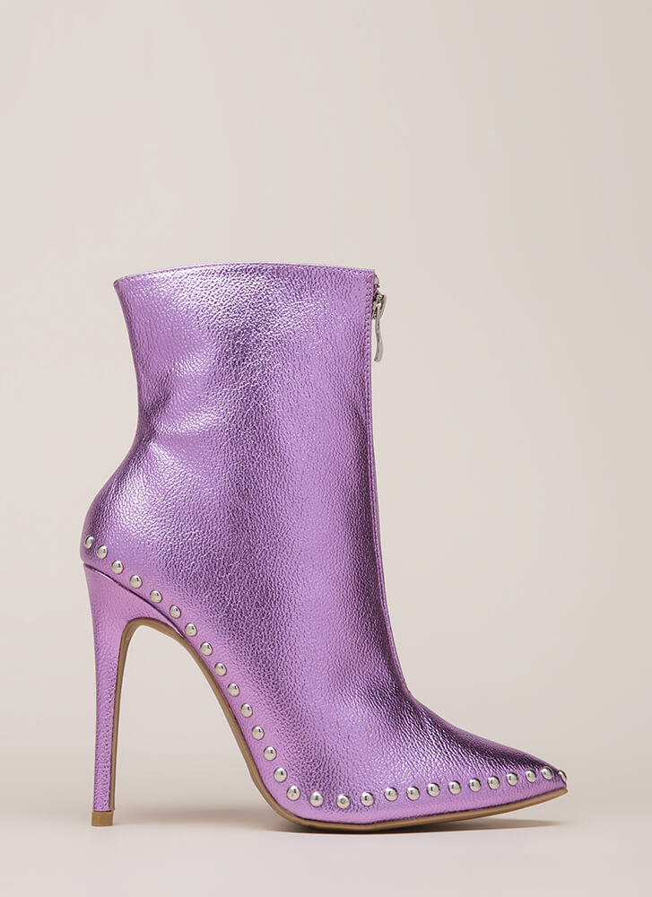 Stunning Studded Pointy Stiletto Booties PURPLE