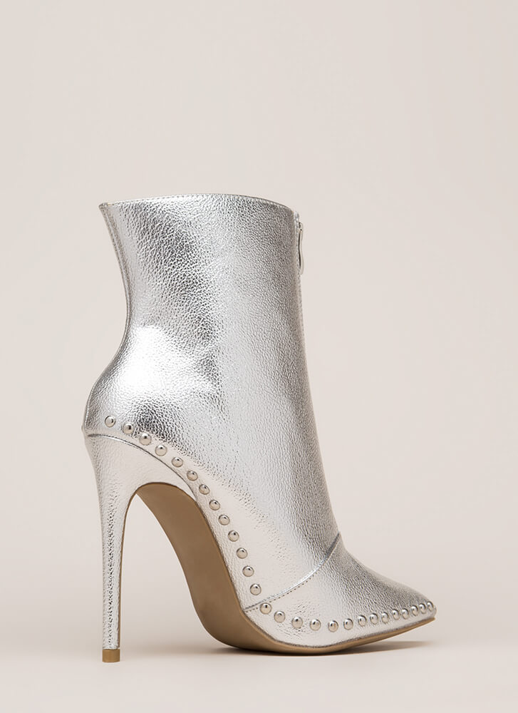 Stunning Studded Pointy Stiletto Booties SILVER