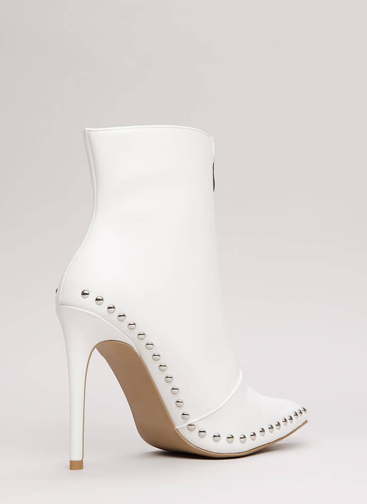 Stunning Studded Pointy Stiletto Booties WHITE