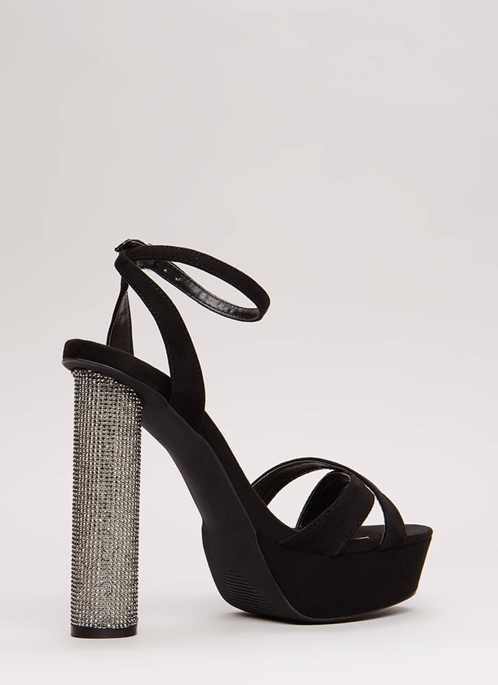 Party Tonight Sparkly Cylindrical Heels BLACK