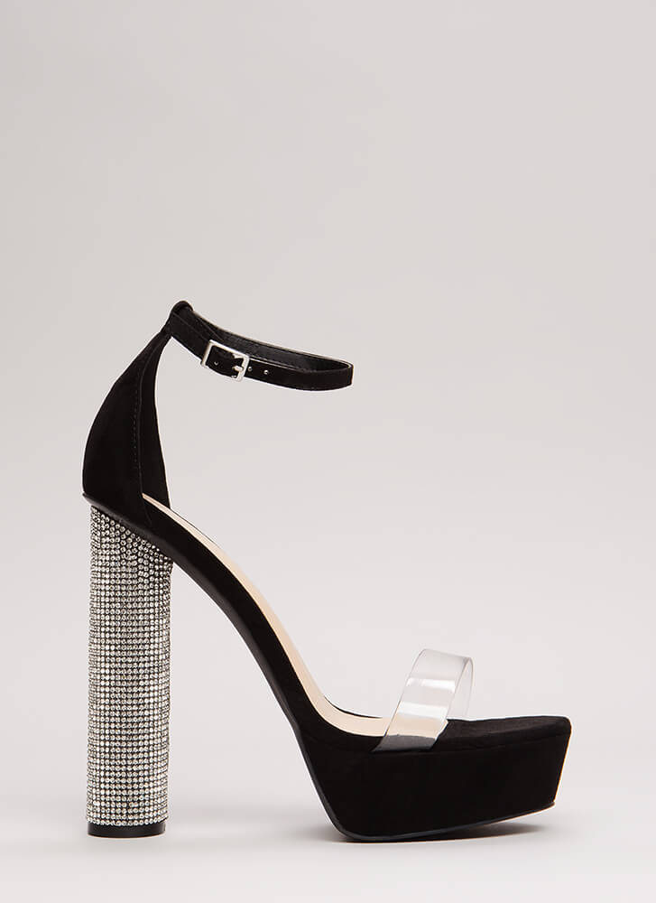 Clear The Way Sparkly Cylindrical Heels BLACK