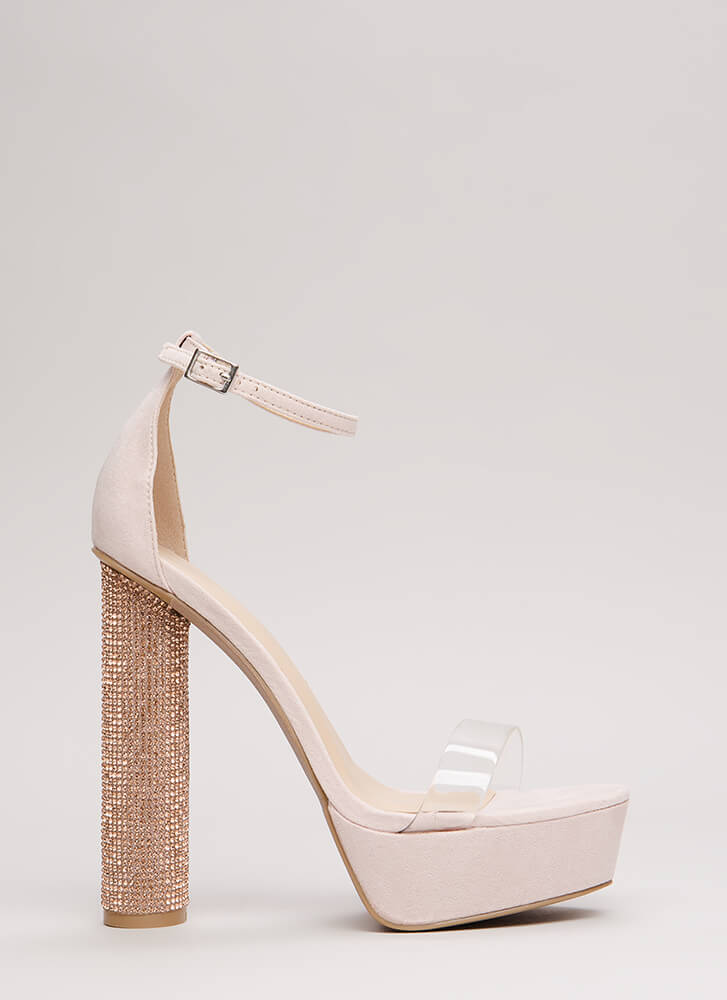 Clear The Way Sparkly Cylindrical Heels NUDE