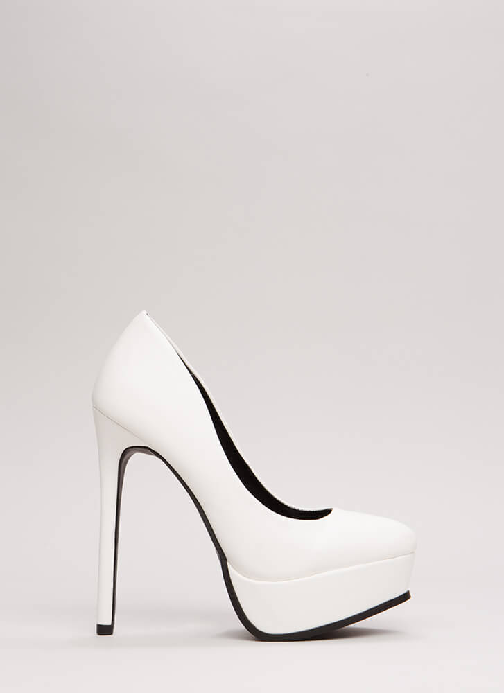 Tall Or Nothing Platform Pumps WHITE