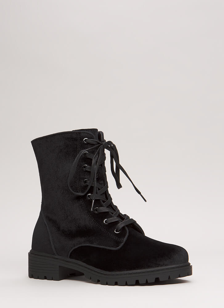 Mix It Up Studded Velvet Combat Boots BLACK