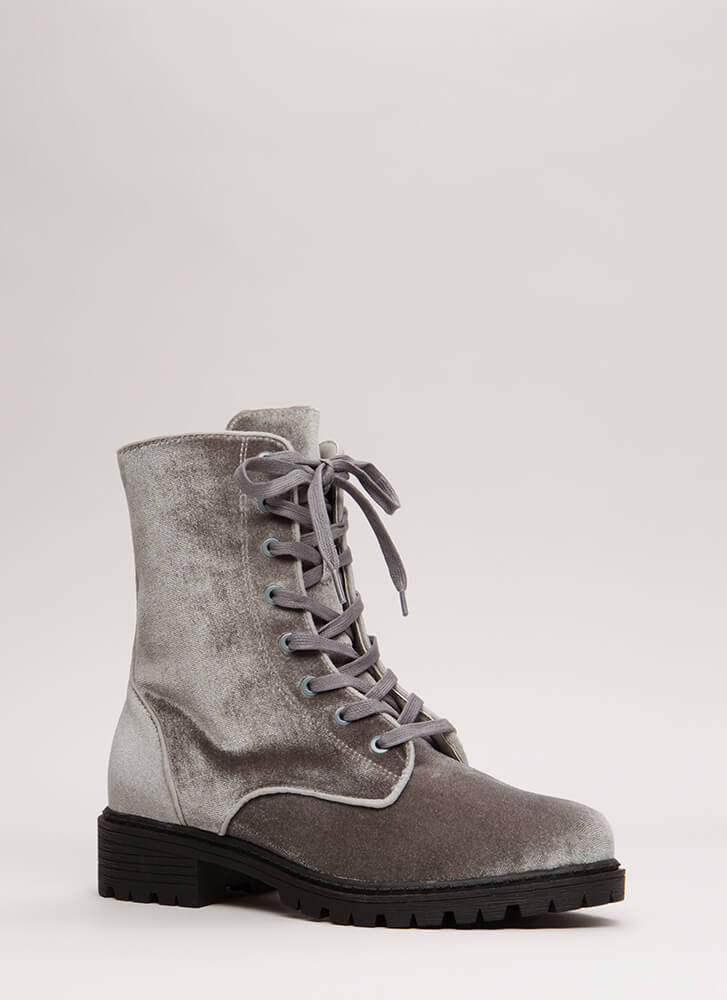 Mix It Up Studded Velvet Combat Boots GREY (You Saved $29)