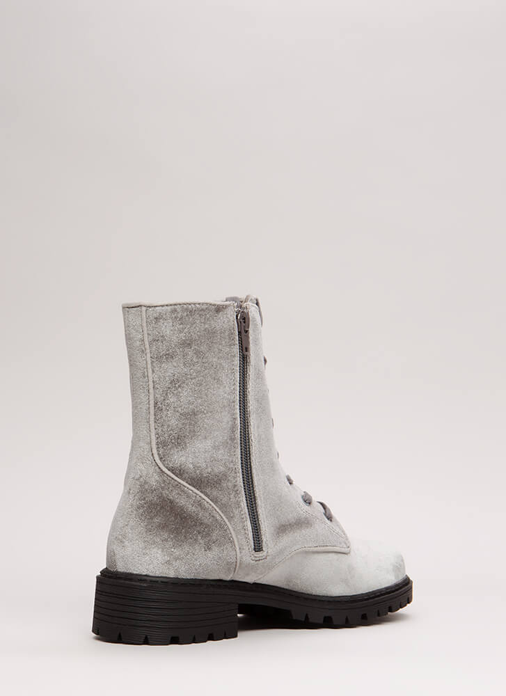 Mix It Up Studded Velvet Combat Boots GREY
