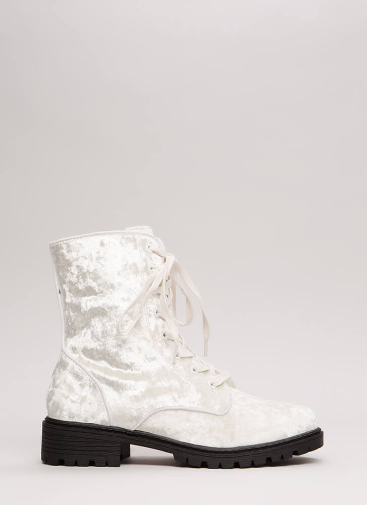 Mix It Up Studded Velvet Combat Boots WHITE (You Saved $29)