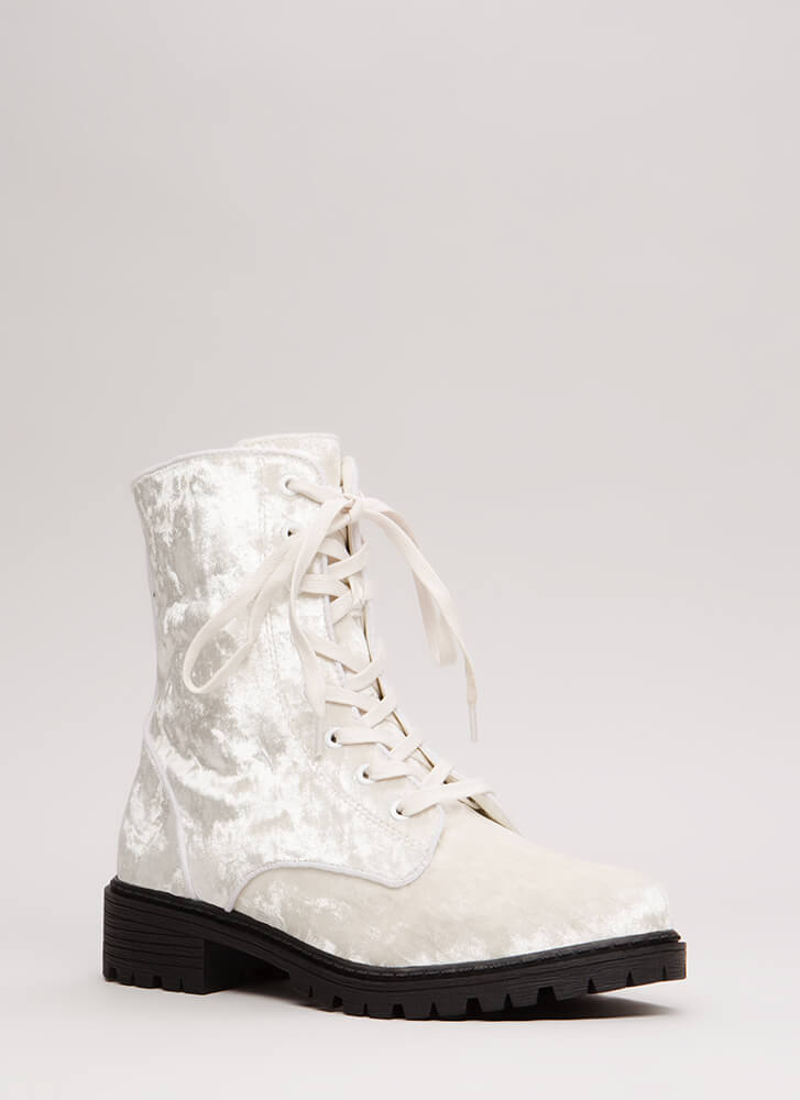 Mix It Up Studded Velvet Combat Boots WHITE