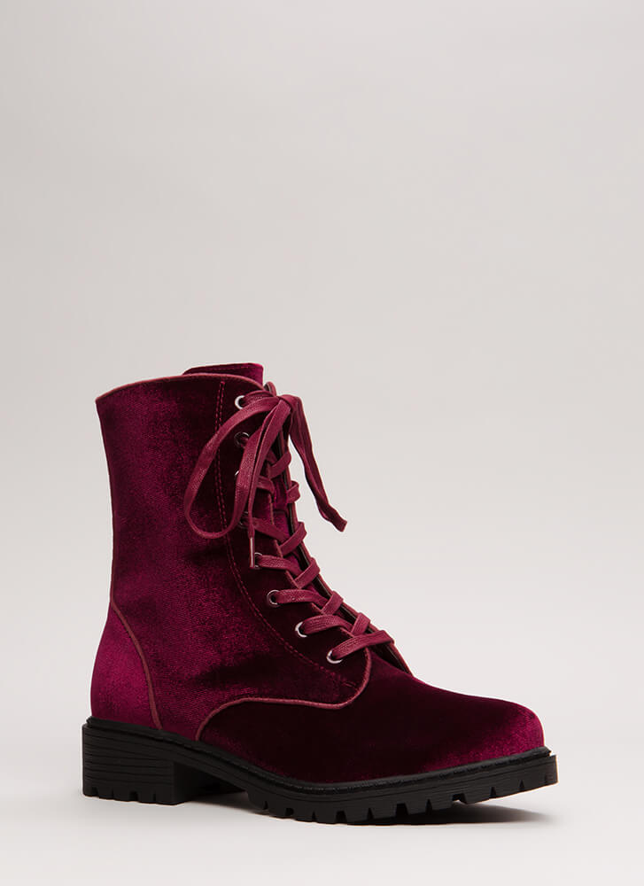 Mix It Up Studded Velvet Combat Boots WINE