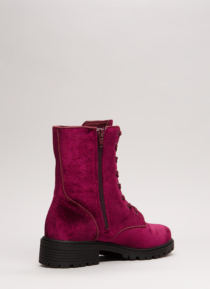 Mix It Up Studded Velvet Combat Boots WINE (You Saved $29)