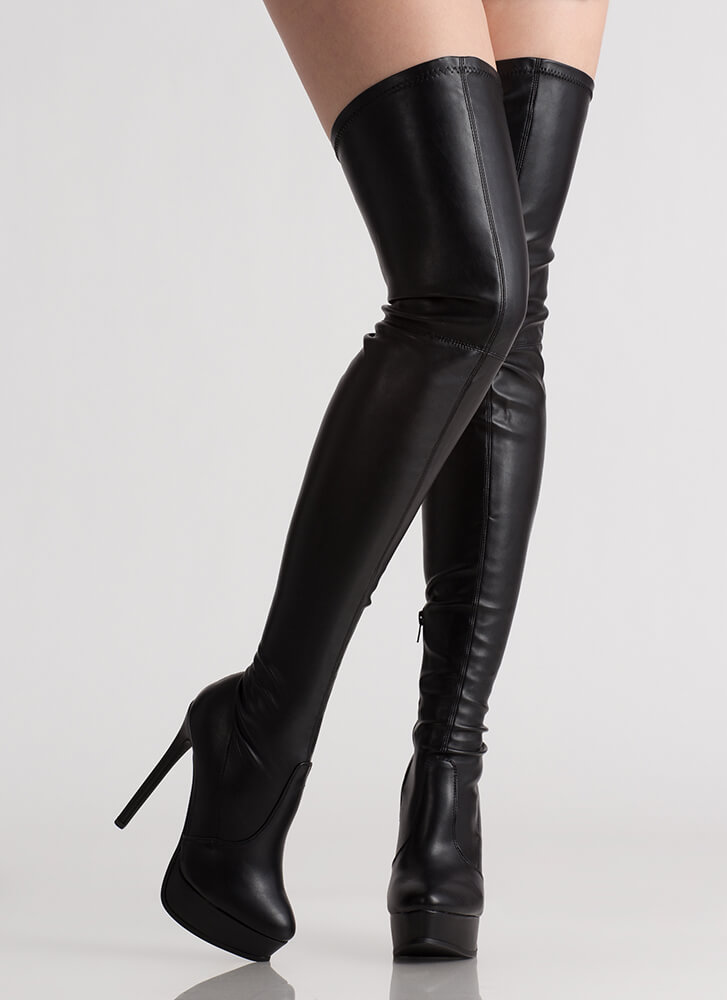 Tall Girl Faux Leather Thigh-High Boots BLACK