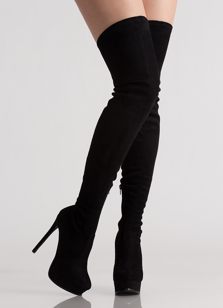 Tall Girl Faux Suede Thigh-High Boots BLACK