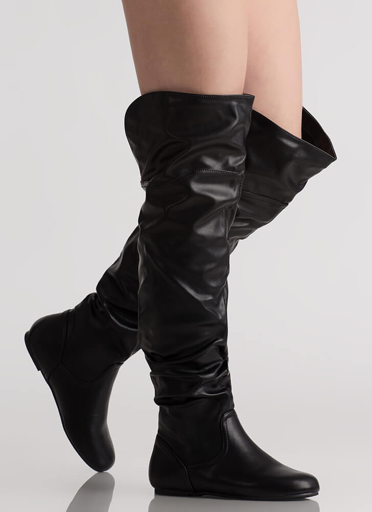 Slouch On Faux Leather Thigh-High Boots BLACK