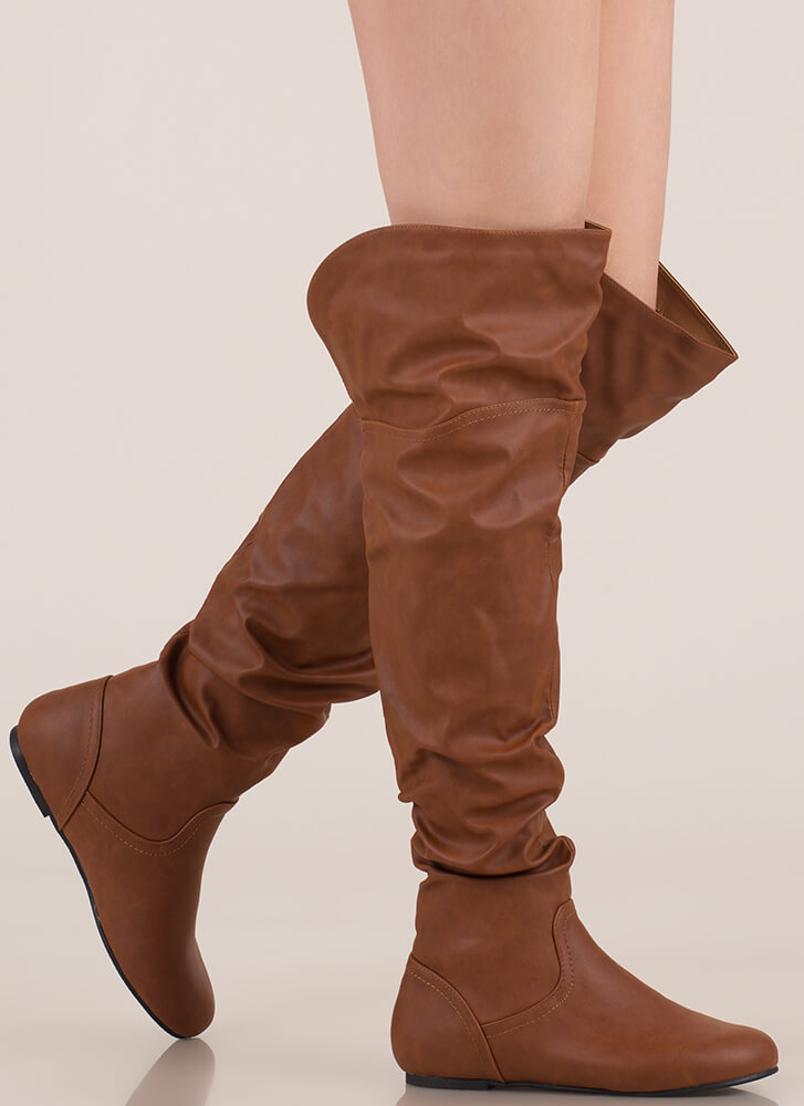 Slouch On Faux Leather Thigh-High Boots COGNAC