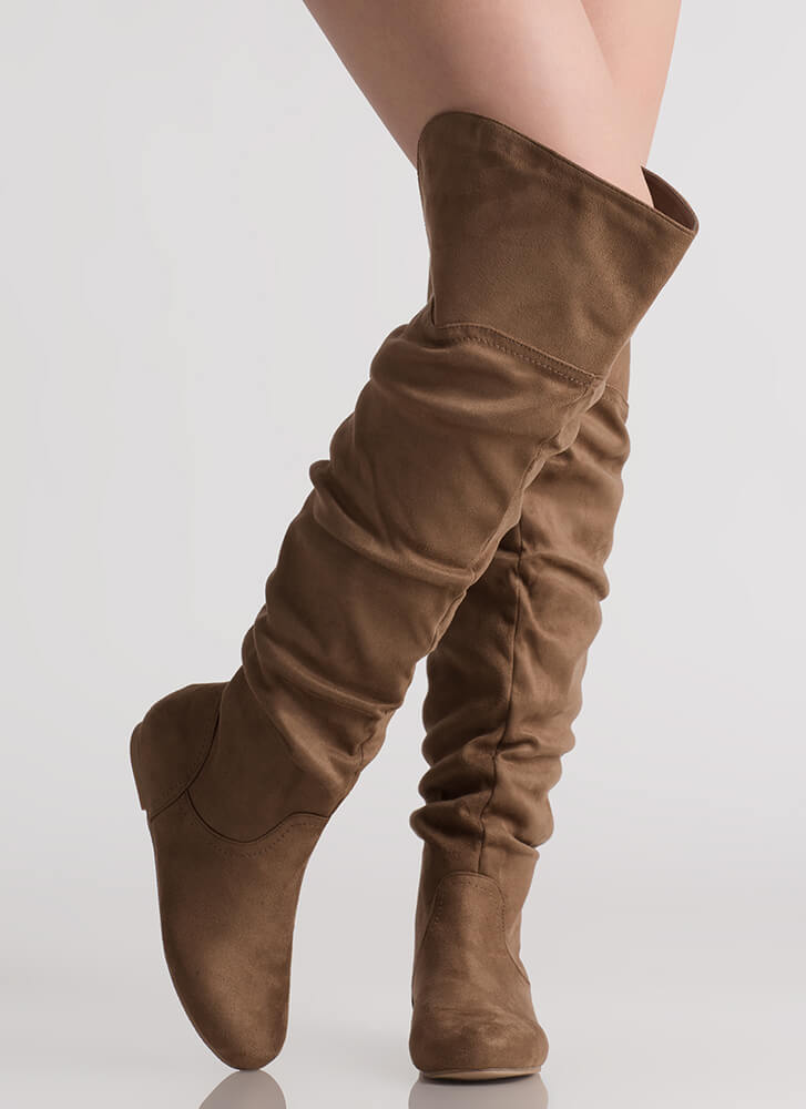 Slouch On Faux Suede Thigh-High Boots TAUPE