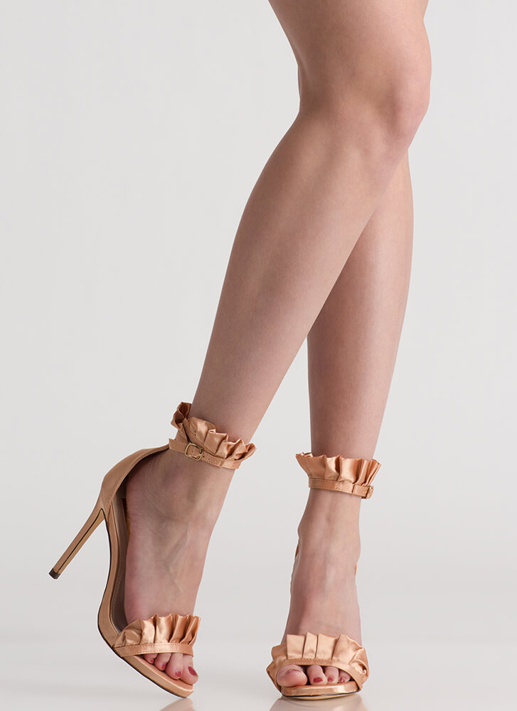 Frill Of The Chase Ruffled Satin Heels CHAMPAGNE (Final Sale)