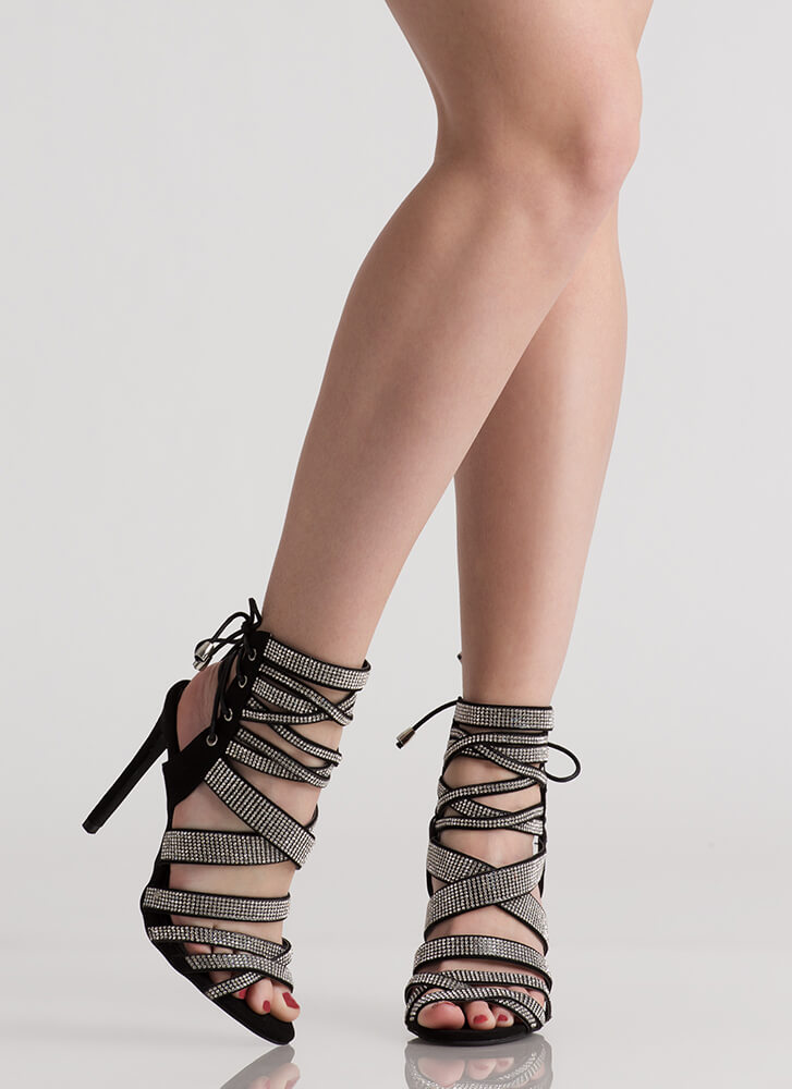 Lucky 13 Strappy Jeweled Lace-Back Heels BLACK