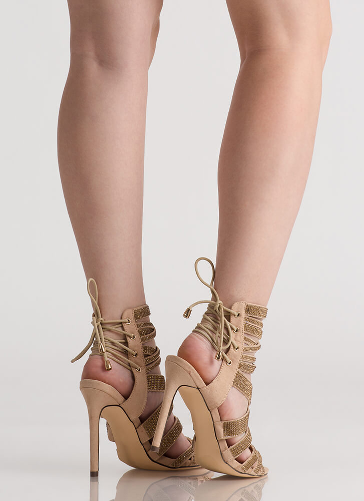 Lucky 13 Strappy Jeweled Lace-Back Heels NUDE