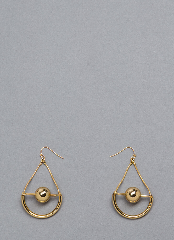 Drop The Ball Cut-Out Earrings GOLD