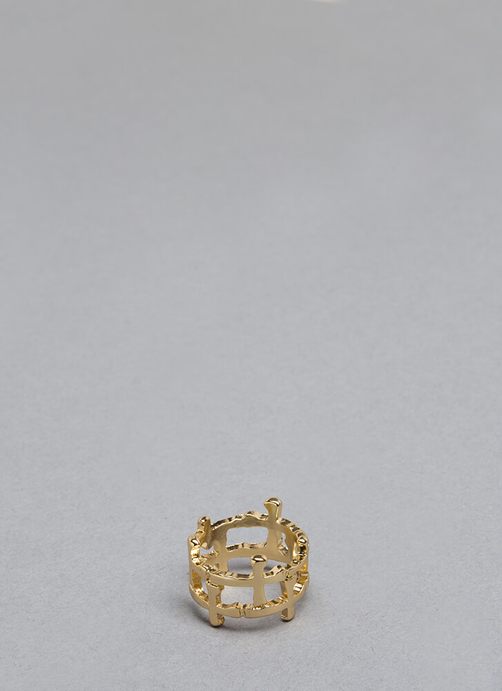 Fashion Royalty Caged Cross Charm Ring GOLD (Final Sale)