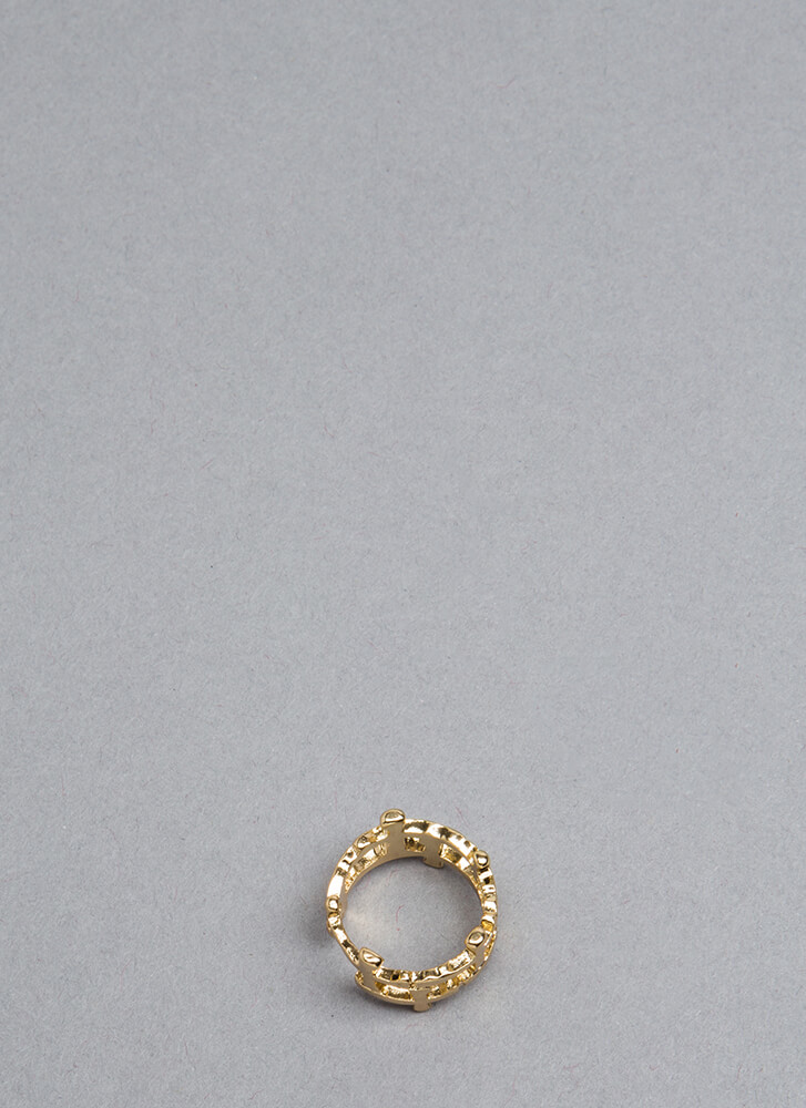 Fashion Royalty Caged Cross Charm Ring GOLD