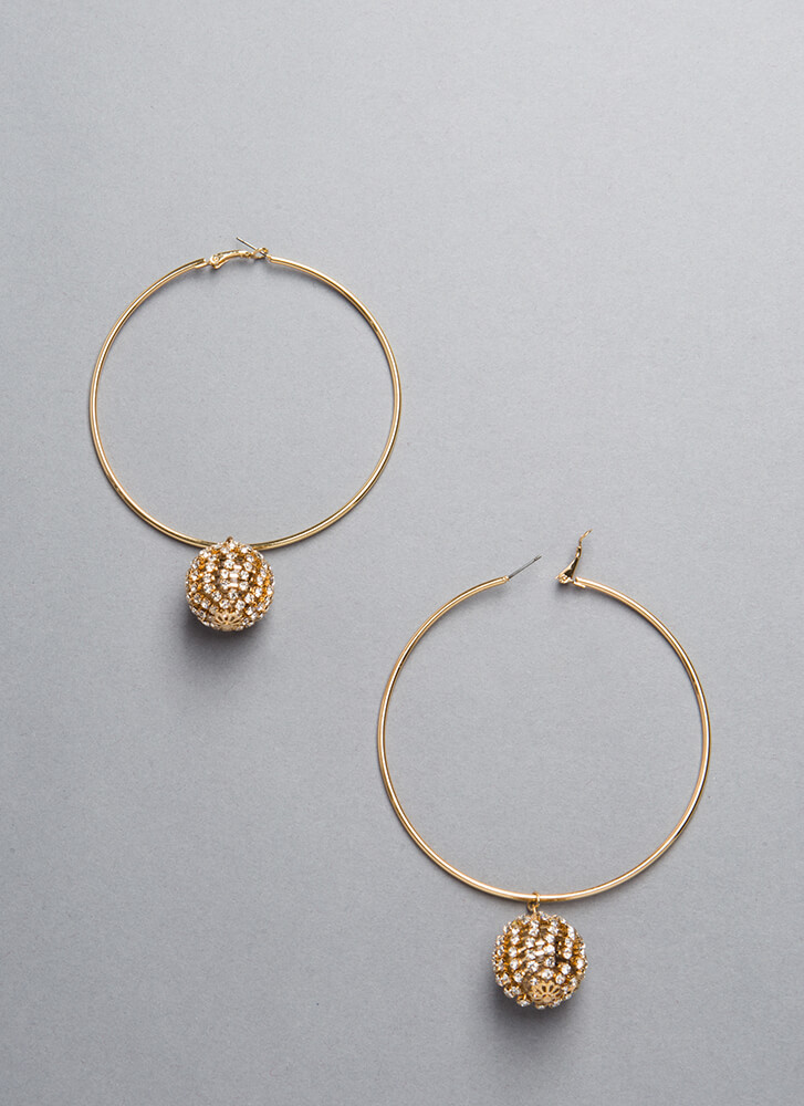 Having A Ball Jeweled Hoop Earrings GOLD