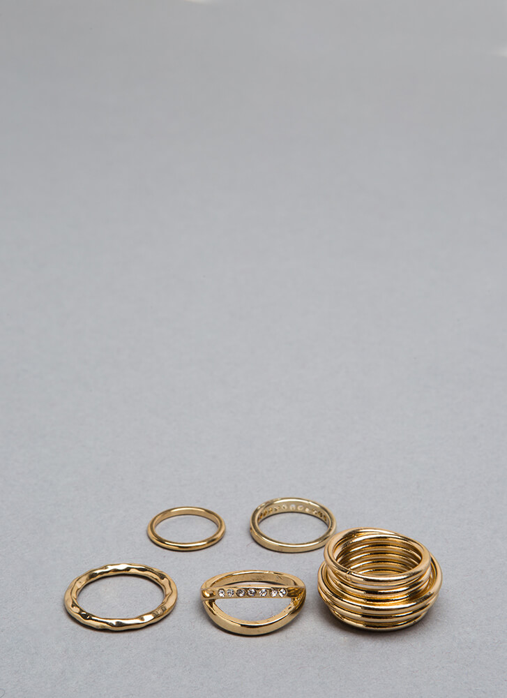 Stacking Up Coiled Cut-Out Ring Set GOLD