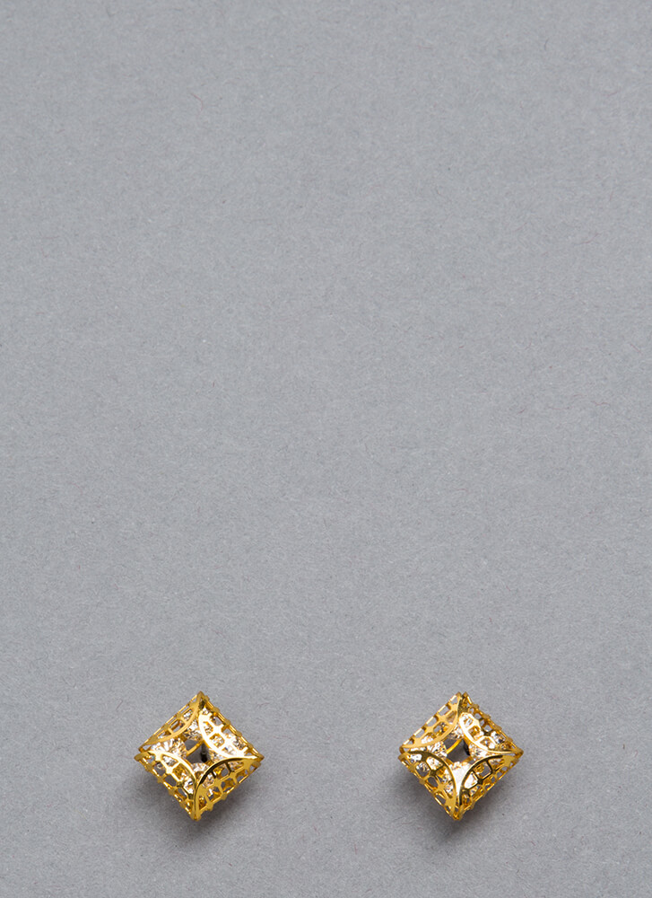 Box It Up Caged Faux Jewel Earrings GOLD