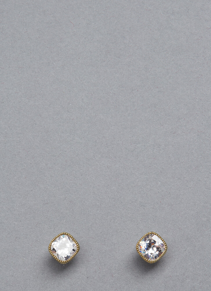 Square Off Studded Faux Diamond Earrings GOLD