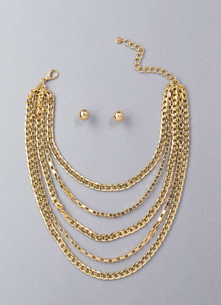 Gimme Five Chain Necklace Set GOLD