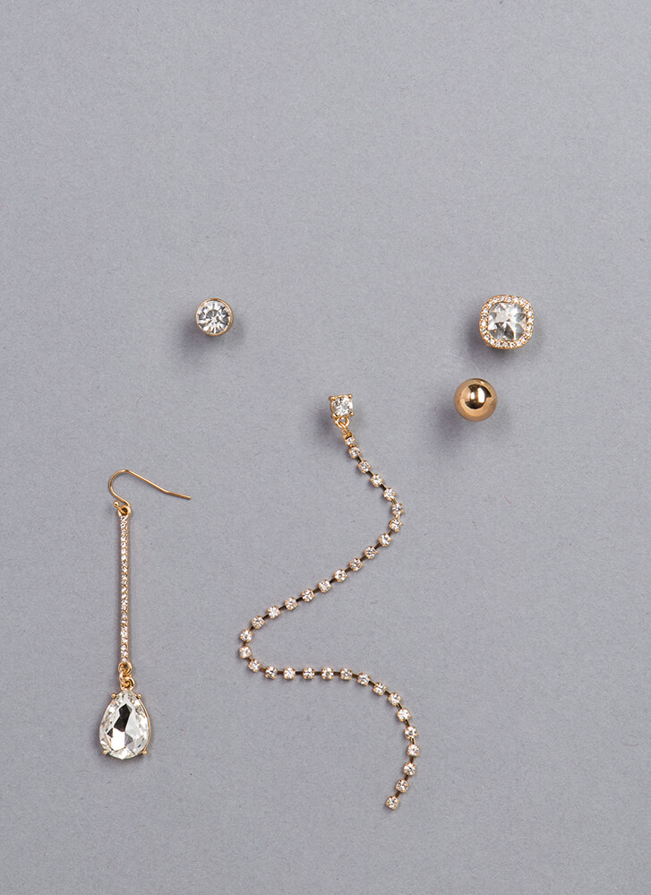 Mix Up Assorted Single Earring Set GOLD