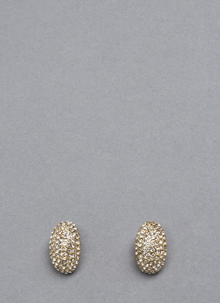 A Good Egg Rhinestone Earrings GOLD