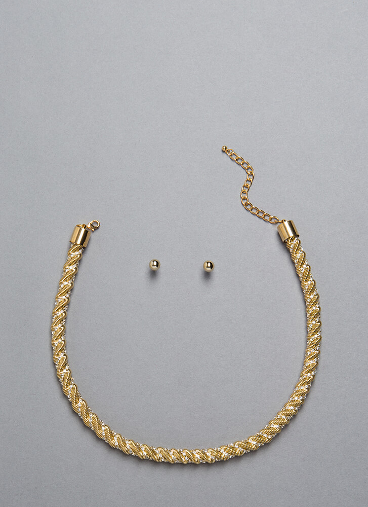Twisted Thinking Jeweled Necklace Set GOLD