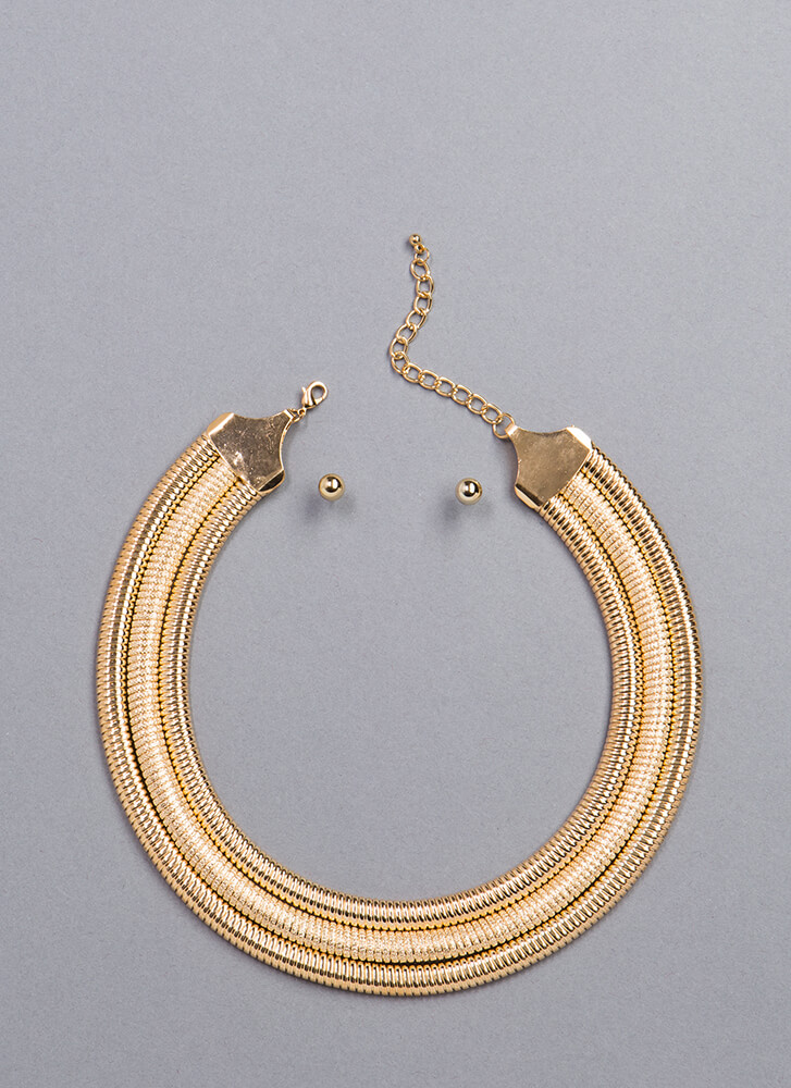 Flat Out Amazing Collar Necklace Set GOLD