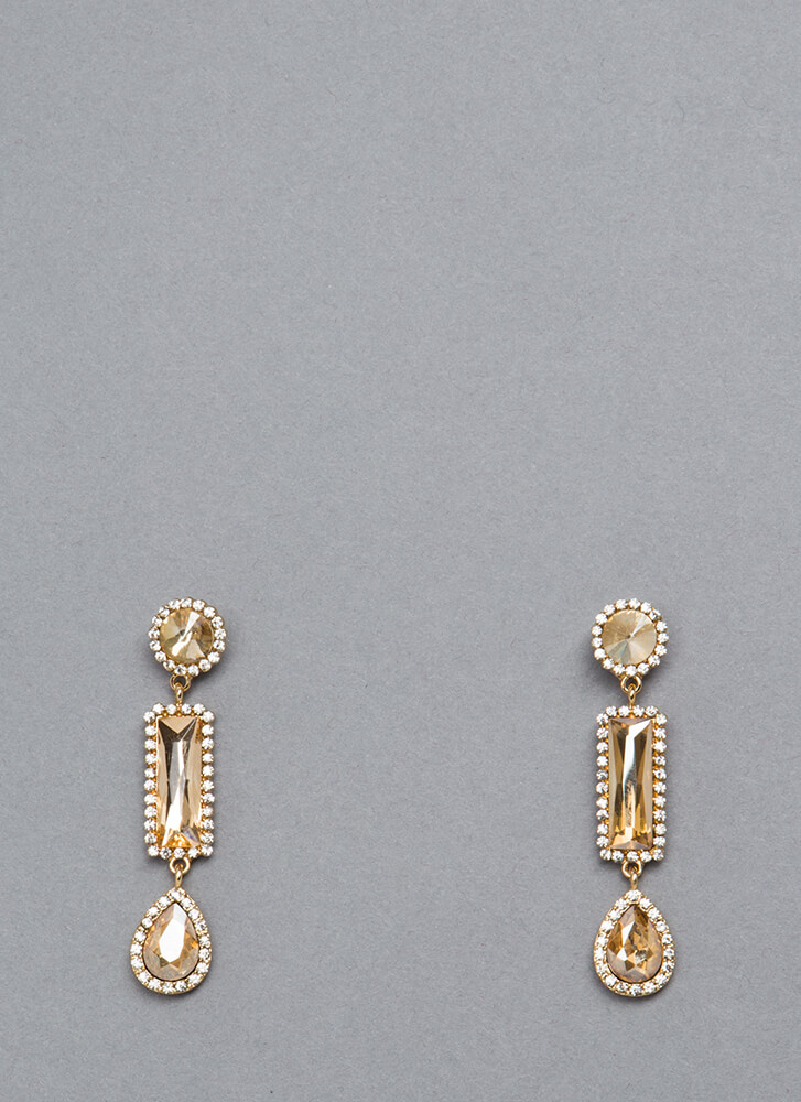 The Trimmings Dangling Jeweled Earrings GOLD