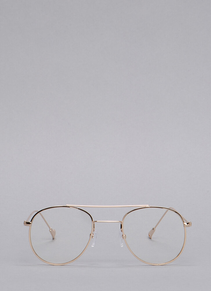 ee353ec4f3 Clearly Aviator Wire Glasses GOLD ...