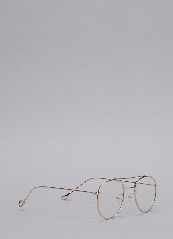 Clearly Aviator Wire Glasses GOLD