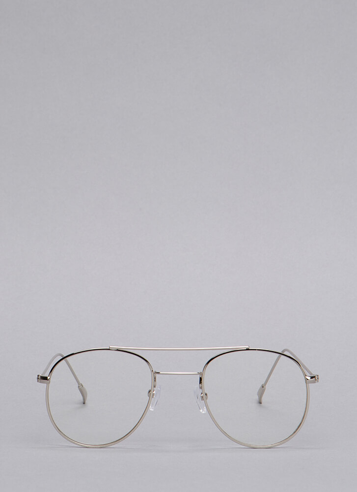 Clearly Aviator Wire Glasses SILVER