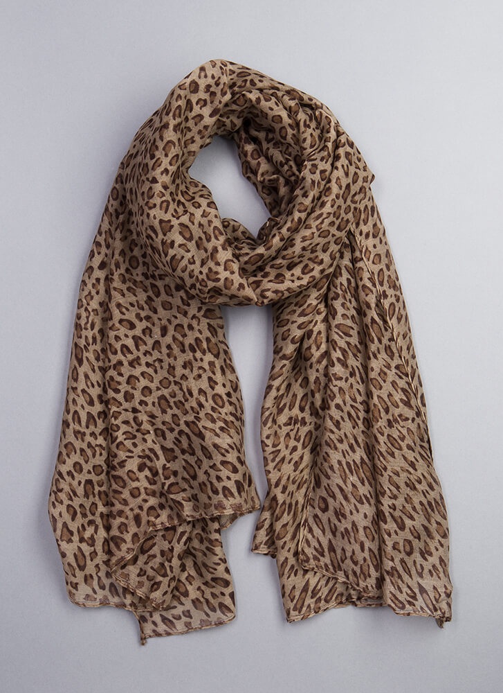 Out In The Wild Leopard Print Scarf BROWN